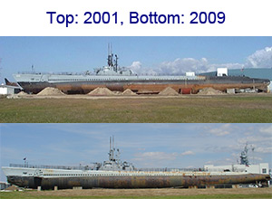 USS Drum on the land, 2001 and 2009